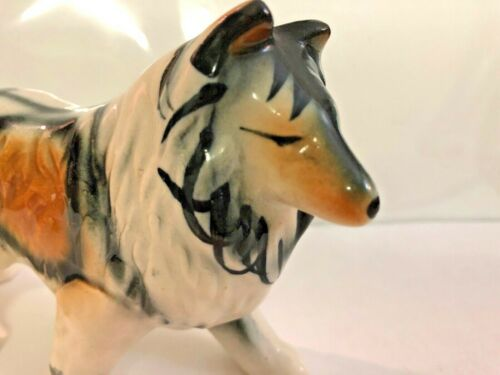 """GREAT  Vintage Bone China Collie Dog  5"""" Long Figurine Made in Japan"""
