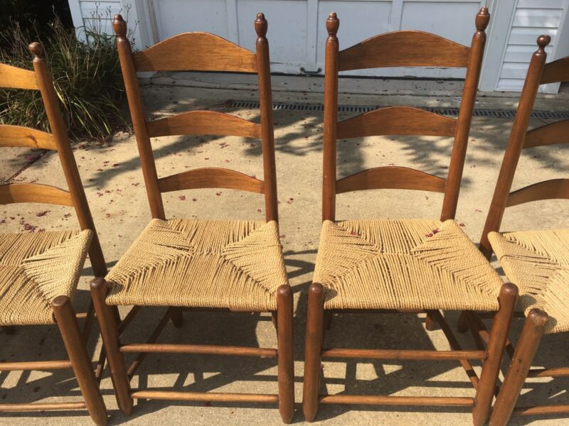 Antique Ladderback Rush Seat Chairs (set of 6)