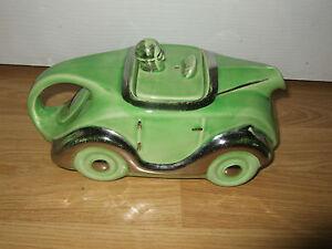 Vintage Art Deco Sadler Pottery Green Racing Car Teapot ~ Chrome Detail OKT42