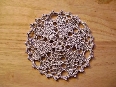 Hand Crocheted Coaster/Doilies, Gray set of 6