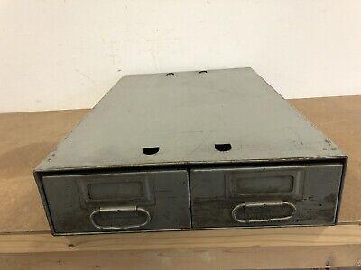 Vintage Metal File Cabinet Filing Two Drawer Bin Box Industrial Storage Steel