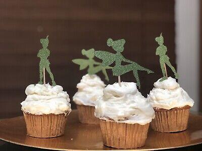 24Pcs Cupcake Topper Party Decor Green Peter Pan  Decor Tinker Bell Birthday Gli (Peter Pan Party)