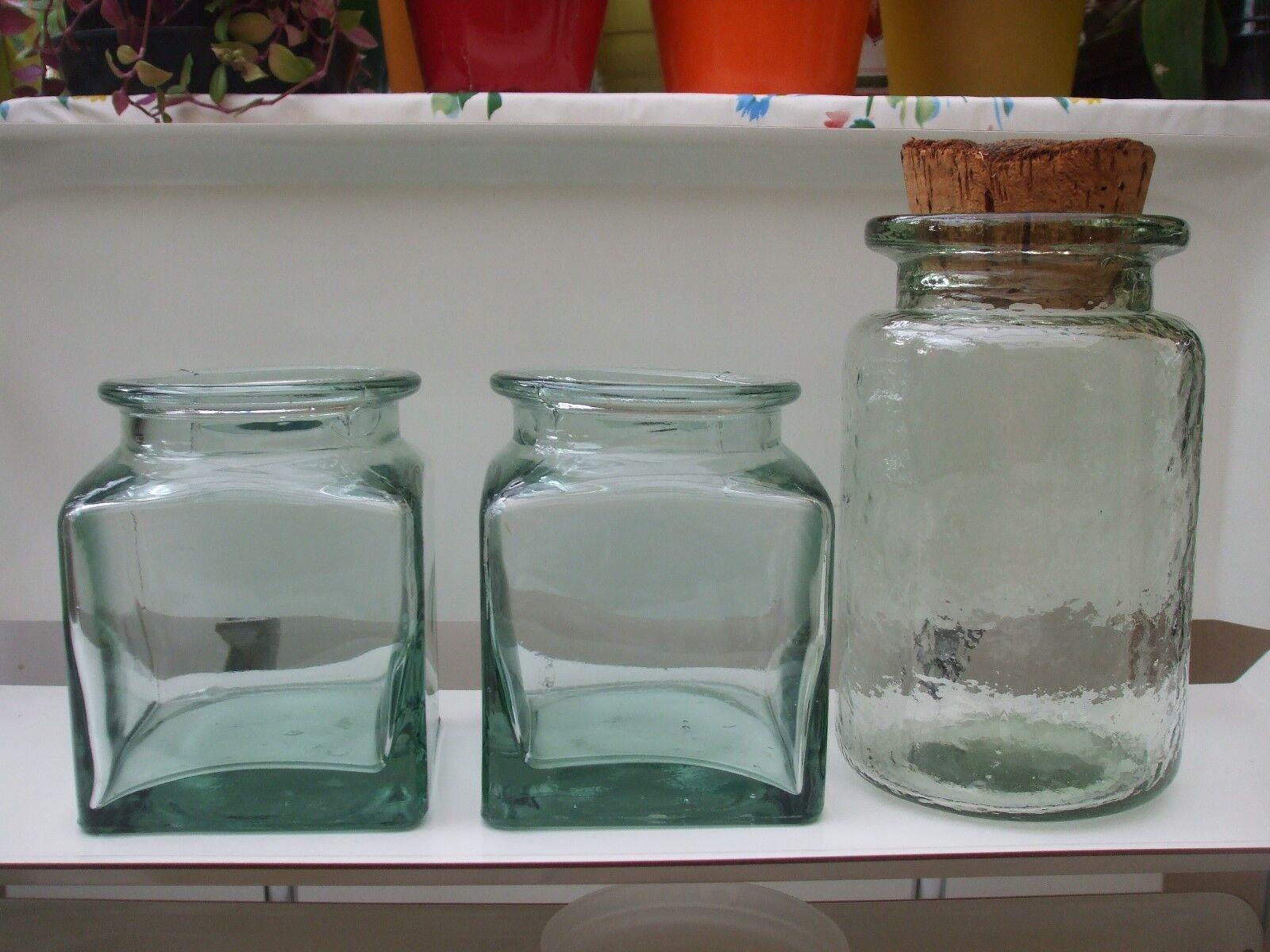 Vintage 3 bocaux verre