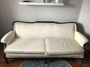 Wood frame vintage couch