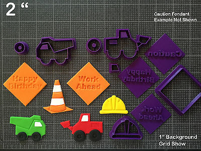 Construction Cookie Cutters (Construction Theme Fondant Cutter Set / Cupcake Topper /Hard Hat Dump Truck)