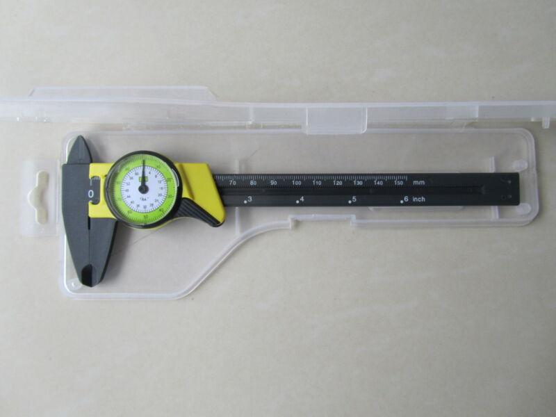"DIAL CALIPER  CARBON FIBER CONSTRUCTION 6"" INCH 150mmVERNIER MICROMETER 0.01res"