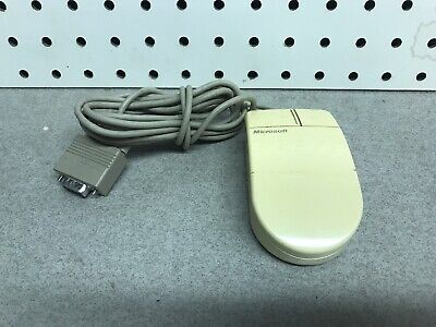 VINTAGE GENUINE MICROSOFT SERIAL PS/2  COMPATIBLE COMPUTER MOUSE 2 BUTTON 9 PIN