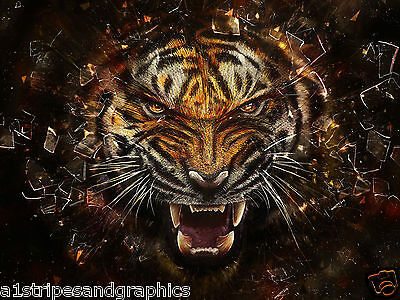 TIGER #5 RV Trailer or Wall Mural FULL COLOR Decal Decals Graphics Sticker Art