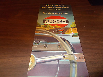 1958 Amoco Long Island and Westchester County Vintage Road Map