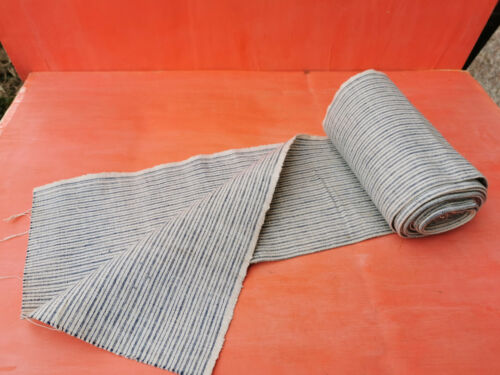 ANTIQUE OLD WHITE BLUE STRIPES HOMESPUN FABRIC ROLL MORE THAN 4 YARDS