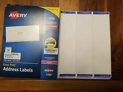 10 Sheets Of Avery Easy Peel Laser Address Labels 5160 Free Shipping 300 Labels