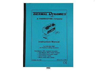 Thermal Dynamics Pakmaster 38 Xl Plasma Cutter 220v Emc Instruction 993
