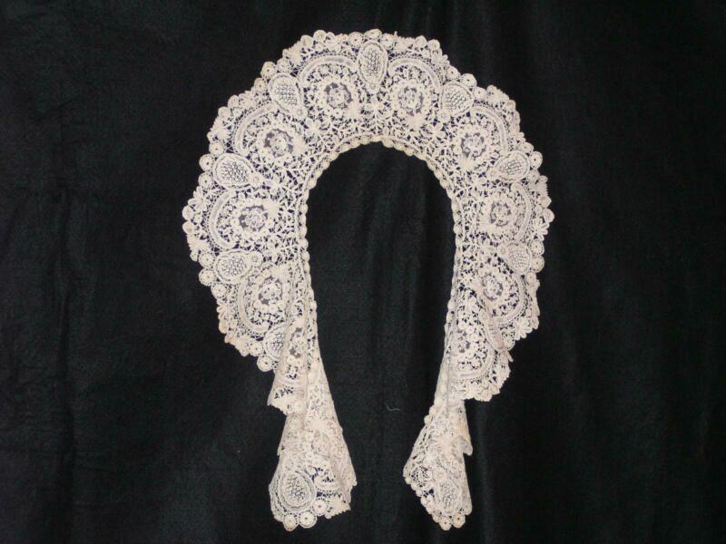 Brussels Rose Point Lace Circular Collar Antique Handmade 1920