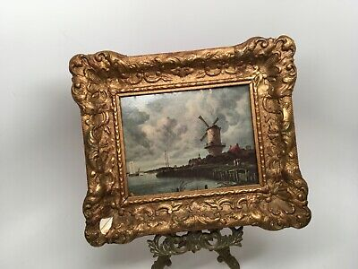 """Art Gallery Roelofs Amsterdam Antique Framed Repro On Wood """"The Blue Mill"""""""