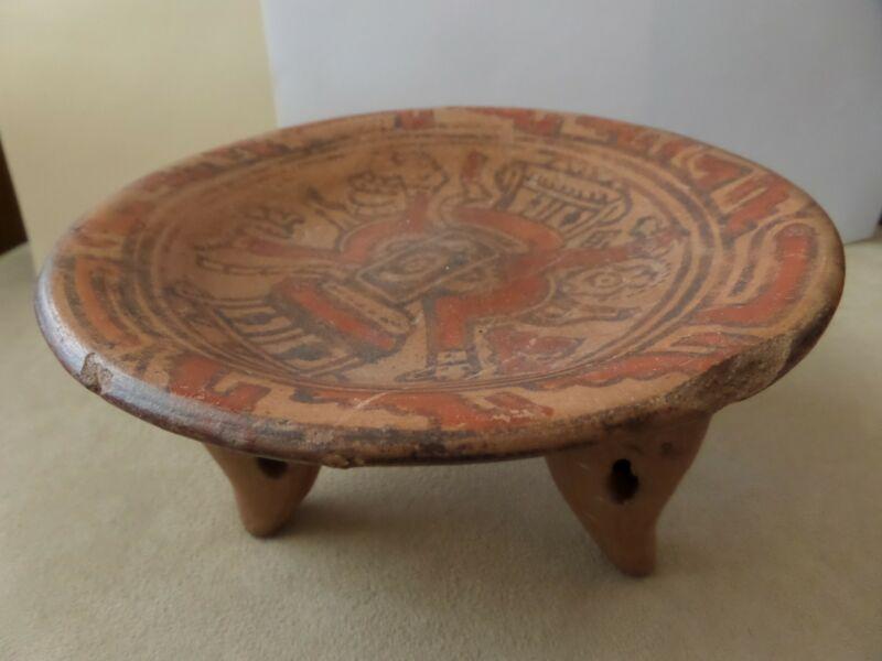 Early Period Tripod Rattle Vessel Bowl. Monkey Themed Polychrome