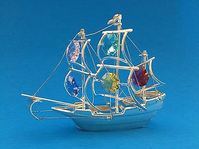 "SWAROVSKI CRYSTAL ELEMENTS ""Ship"" FIGURINE - ORNAMENT SILVER PLATED"