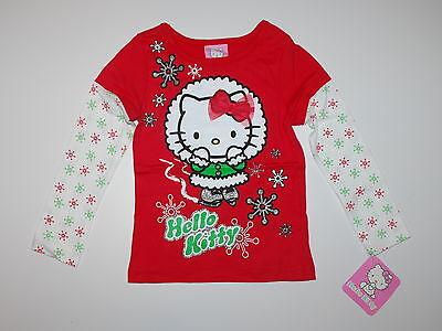 Langarmshirt~USA~92-98~Hello KITTY~Weihnachten~rot~Schneeflocke~Katze~Glitter~ Hello Kitty Weihnachten
