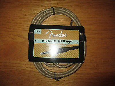 FENDER VINTAGE VOLT TAN TWEED GUITAR CABLE / CORD 10' FOOT EFFECT PEDAL JUMPER