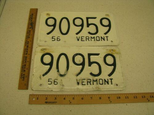1956 56 Vermont VT License Plate PAIR SET #90959