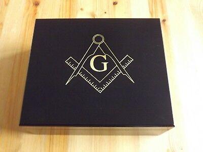 Black Desktop Spanish Cedar Lined 50 Cigar Humidor - Gold Freemason Masonic