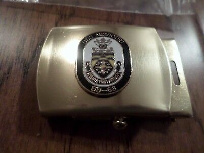 U.S NAVY MISSOURI BB-63 INSIGNIA ON A SOLID BRASS BELT BUCKLE MADE IN THE U.S.A