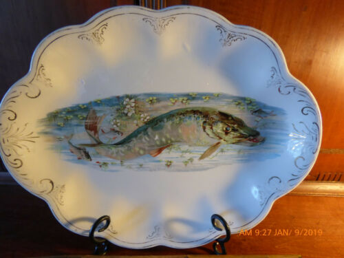 BEAUTIFUL LARGE ANTIQUE FISH PLATTER, EXCELLENT CONDITION