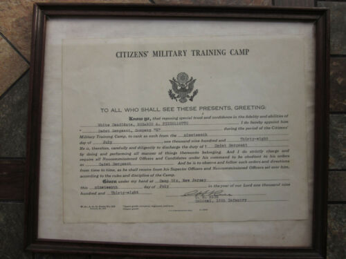 CITIZENS MILITARY TRAINING  DIPLOMA FROM 1938.   83  YEARS  OLD