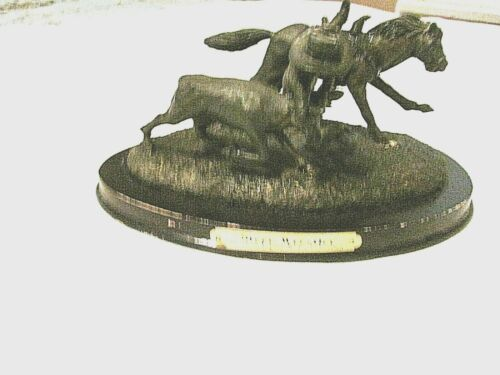 Metal Steer Wrestler Figurine by American Legacy Rodeo Coll. - Bill Frank 1998