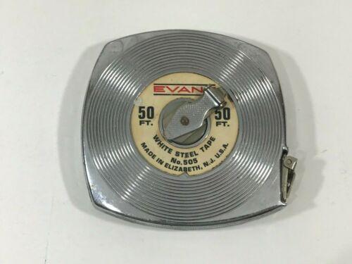 Vintage EVANS 50 FT. STEEL TAPE MEASURE No. 505 (WHITE STEEL TAPE) USA