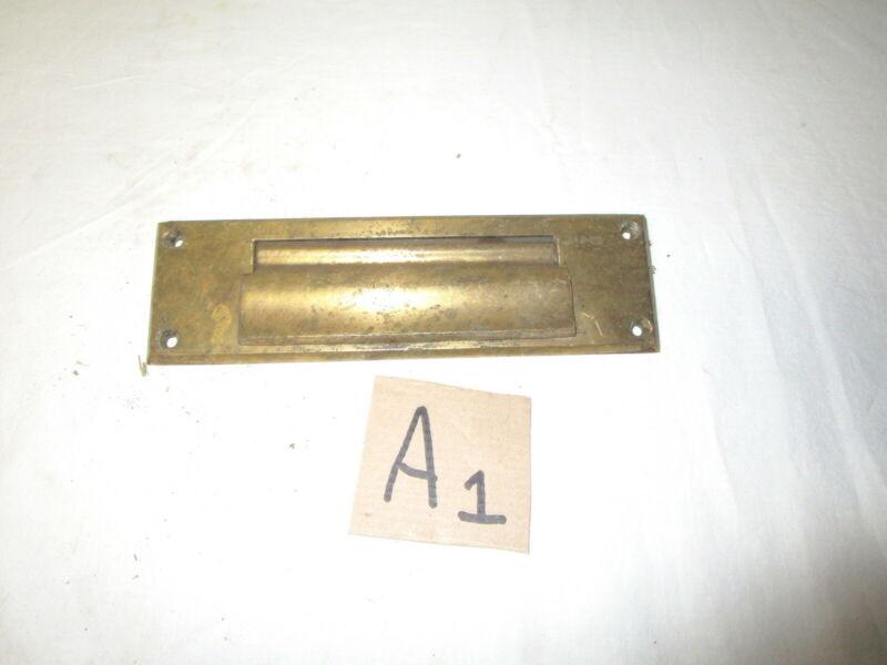 Vintage heavy solid brass door mail slot