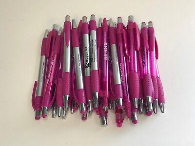 36 Lot Misprint Ink Pens Ball Point Pink Plastic Barrel Retractable