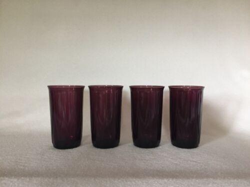 4 Hazel Atlas Amethyst Newport Depression Glass Tumblers