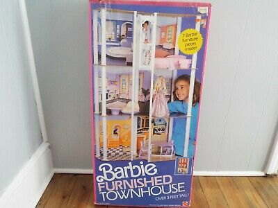 Vintage 1986 Barbie Townhouse Doll House 3764 in Original Box Without Furniture