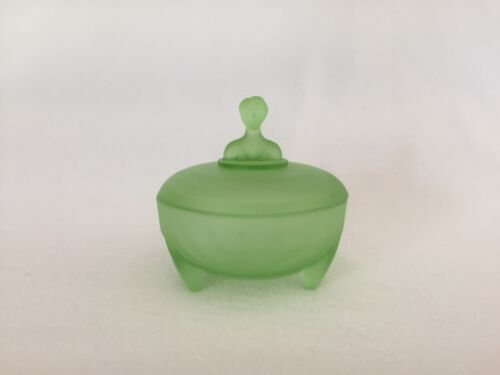 Babs 1 Figural Green Satin Frosted Glass Art Deco Powder Jar