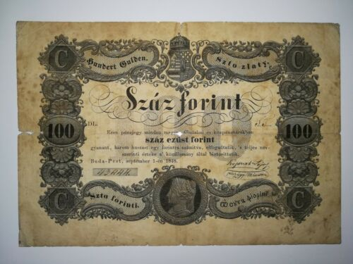 100 forint 1848. Hungary, Old Hungarian banknote, revolution 1848