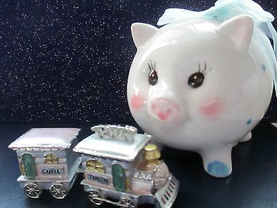 Tooth & Curl for Baby Teeth /1st curl enamel trinket & blue pig  polka dot bank