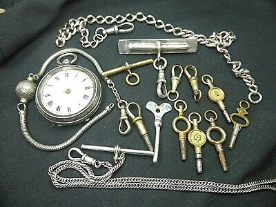 JOB LOT ANTIQUE POCKET WATCH, KEYS, DOGCLIPS, CHAINS, ALBERTS, T BAR SOME SILVER