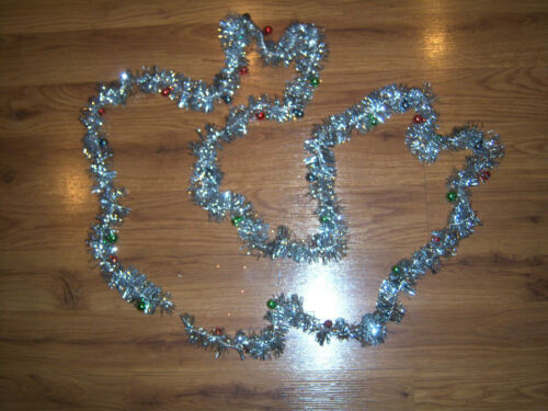 "Vtg SHINY 52"" SILVER TINSEL GARLAND MERCURY GLASS FEATHER ORNAMENTS XMAS DECOR"