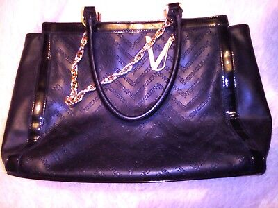 RRP350 Genuine Versace Black Eco Leather Shoulder Bag Handbag Tote Gold Chain