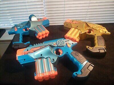 3 Nerf Gun Laser Lazer Tag Phoenix LTX Tagger Blaster Guns Lot 1 Gold & 2 Blue