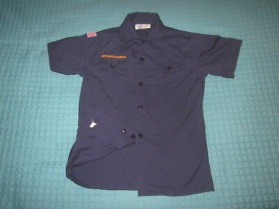 BSA Cub Scout Blue Uniform Shirt Size Youth MED SS 67%Cotton Poplin