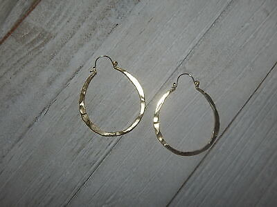 EARRINGS HOOPS GOLD PLATE HAMMERED ANTHROPOLOGIE OVAL L TAG $38 NEW Hammered Gold Oval Earrings
