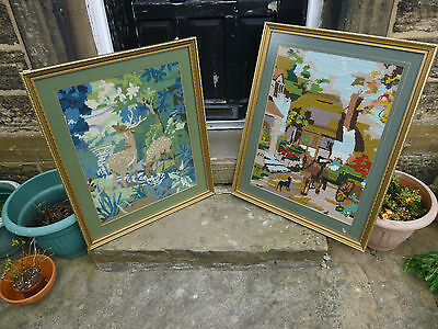 A Pair of Retro Woolwork Framed Pictures