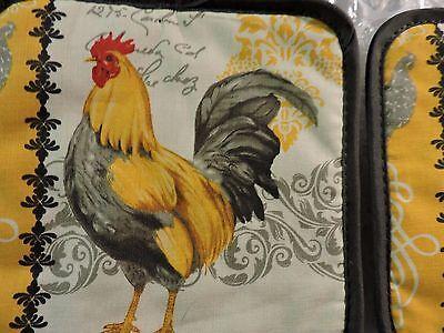 "POT HOLDER SET, Cotton 7"" Square Kitchen Decor, Country Rooster Design"