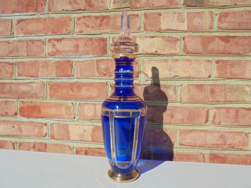 Moser Glass Cobalt Blue Cabochon Lg Decanter w Stopper Gold Trim