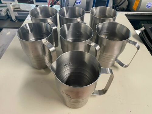 Set of 7 Stainless Steel Milk Frother Pitcher Steaming Cappuccino Frothing Cups