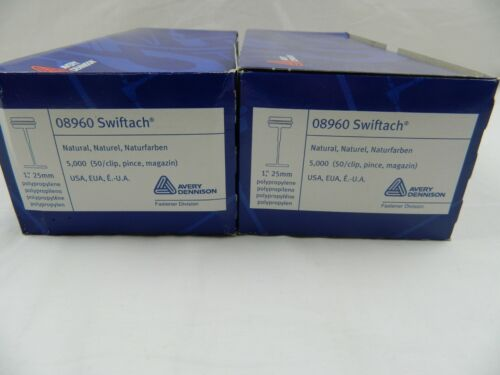 """2 BOXES of 10,000  AVERY DENNISON 08960 SWIFTACH 1 """" 25MM FASTENER TAGS  Lot e"""