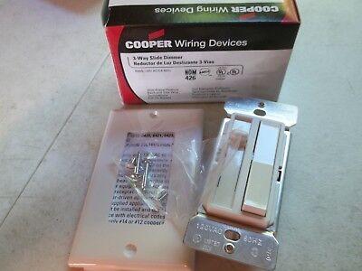 Cooper Wiring 6423W White 3-Way Slide Dimmer 600w 120v Full-on Bypass - NEW ()