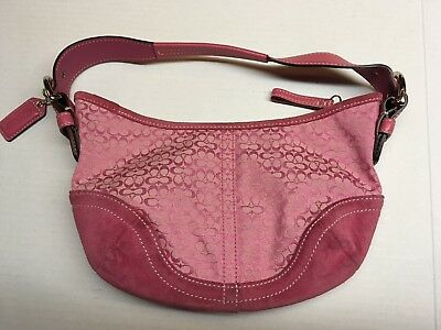 80675d0569 COACH 6351 Pink Soho Signature Suede Canvas Hobo Shoulder Bag Purse