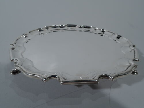George VI Salver - Georgian Piecrust Tray - English Sterling Silver - 1946